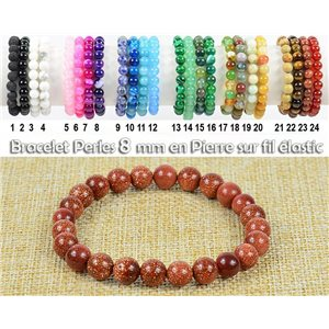 Bracelet Beads 8mm Stone of the Sun on elastic thread 77921
