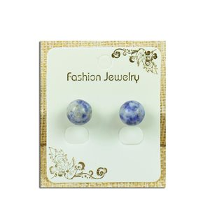 1p Boucles Oreilles à clou Perle 10mm en Pierre Agate Lilas - New Collection 77932