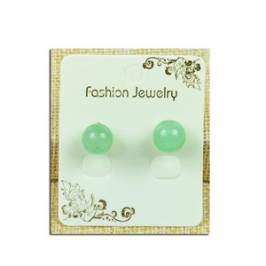 1p Boucles Oreilles à clou Perle 10mm en Pierre Aventurine Verte - New Collection 77935