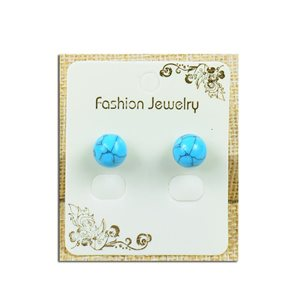 1p Boucles Oreilles à clou Perle 10mm en Pierre Howlite Bleu - New Collection 77930
