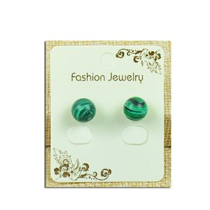 1p Earrings with Pearl Nail 10mm Malachite Stone - New Collection 77934