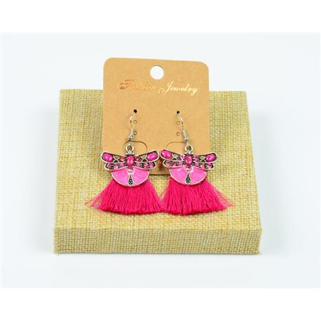 1p Earrings Crochet Tassel and Beads New Ethnic Collection 77942