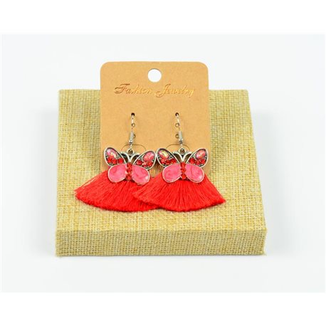 1p Earrings Crochet Tassel and Beads New Ethnic Collection 77946
