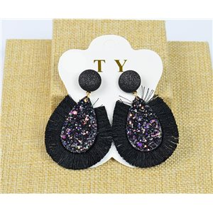 1p Earrings with Nails Pompon and Sequins New Collection Chic 77892