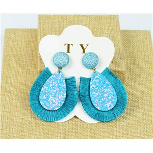 1p Boucles Oreilles à Clou Pompon et Paillettes New Collection Chic 77895