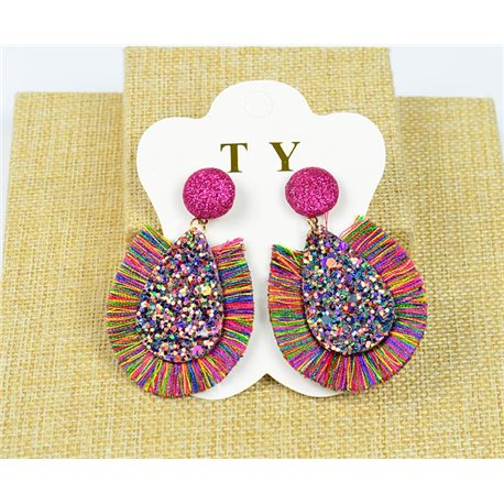 1p Earrings with Nails Pompon and Sequins New Collection Chic 77899