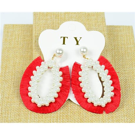 1p Earrings with Nail Pompon on Beads New Chic Collection 77901