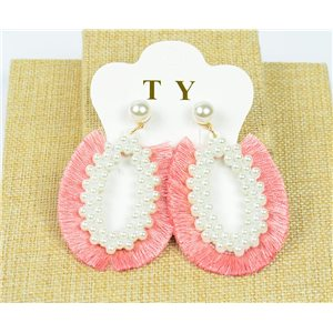 1p Earrings with Nails Pompon on Beads New Chic Collection 77902