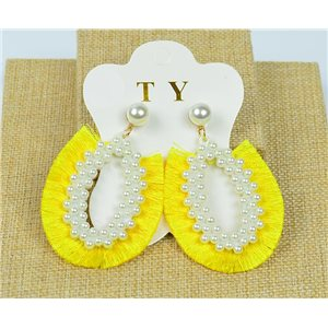 1p Earrings with Nail Pompon on Beads New Chic Collection 77903