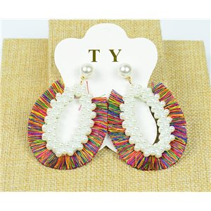1p Earrings with Nail Pompon on Beads New Chic Collection 77906
