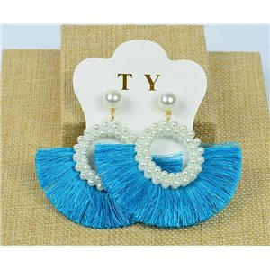 1p Earrings with Nail Pompon on Beads New Chic Collection 77912