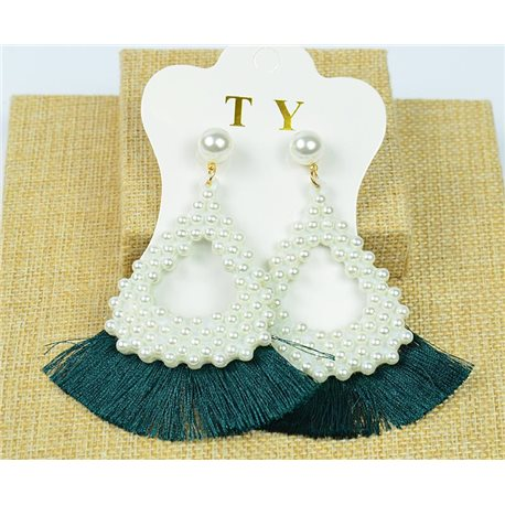 1p Earrings Nail Tassel on Beads New Chic Collection 77918