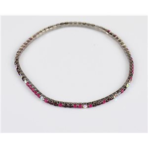 Pack of 10 - Stretch Bracelet Set with Sparkling Rhinestones on Anthracite Mesh 77866
