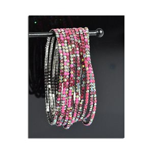 Pack of 10 - Stretch Bracelet Set with Sparkling Rhinestones on Anthracite Mesh 77868