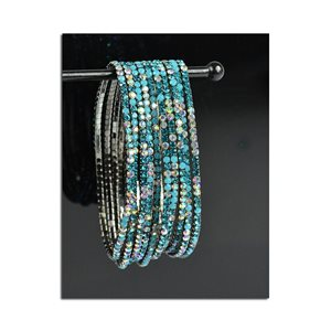 Pack of 10 - Stretch Bracelet Set with Sparkling Rhinestones on Anthracite Mesh 77871