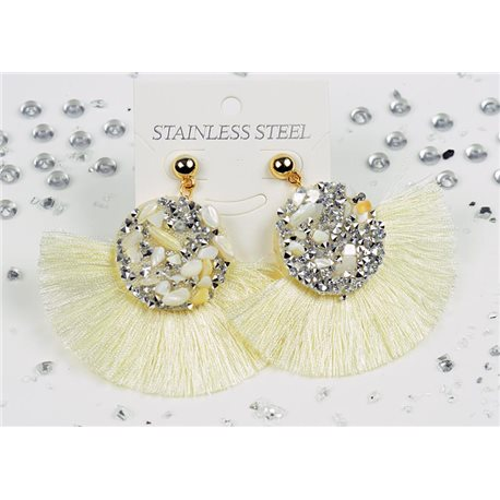 1p Earrings Nail Stud Stainless Steel Decor Stone and Rhinestone New Collection 77710