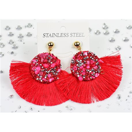 1p Earrings Nail Stud Stainless Steel Decor Stone and Rhinestone New Collection 77712