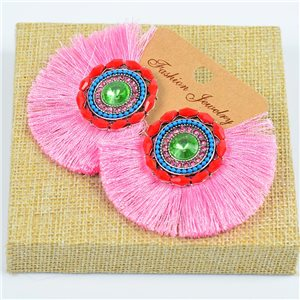 1p Earrings with Nails Handmade Beads and Strass New Ethnic Collection 77798