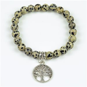 Lucky Tree of Life Beads Bracelet 8mm in Dalmatian Jasper Stone on elastic thread 78135