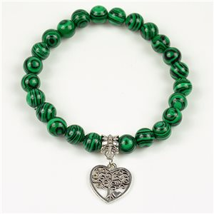 Charm Bracelet Tree of Life Pearls 8mm in Malachite Stone on elastic thread 78143