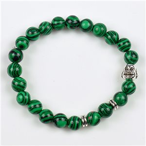 Charm Bracelet Buddha Pearls 8mm in Malachite Stone on elastic thread 78158