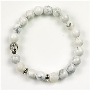 Charm Bracelet Buddha Pearls 8mm in White Howlite Stone on elastic thread 78168