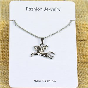 IRIS Silver Color Rhinestone Pendant Necklace Snake chain L40-45cm 78296