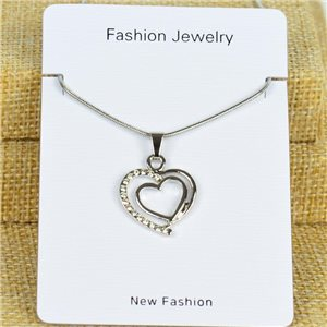 IRIS Silver Color Rhinestone Pendant Necklace Snake chain L40-45cm 78306
