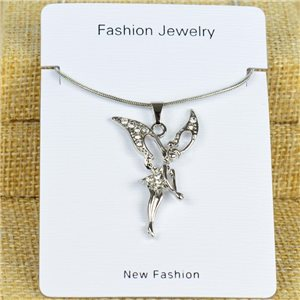 IRIS Silver Color Rhinestone Pendant Necklace Snake chain L40-45cm 78312