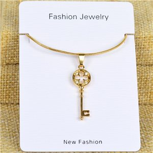IRIS Gold Color Rhinestone Pendant Necklace Snake chain L40-45cm 78317