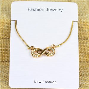 IRIS Gold Color Rhinestone Pendant Necklace Snake chain L40-45cm 78321
