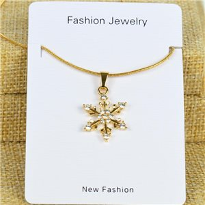 IRIS Gold Color Rhinestone Pendant Necklace Snake chain L40-45cm 78327