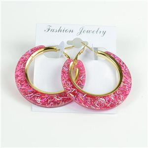 1p Boucles Oreilles Paillettés Créoles 45mm fermeture à clapet New Collection 78206