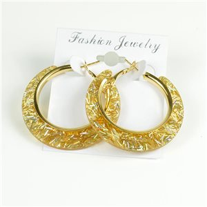 1p Hoop Earrings Glitter 45mm flap closure New Collection 78208