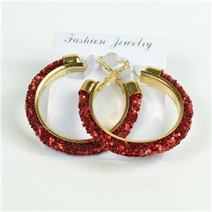 1p Hoop Earrings with Sequins 45mm flap closure New Collection 78211