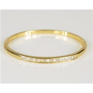 Bangle with metal clip color Yellow Gold Zircon diamond cut D60mm Chic Collection 78435