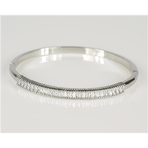 Bracelet Jonc à clip métal couleur Or Blanc Zircon coupe diamant D60mm Collection Chic 78437