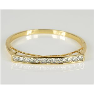 Bangle with metal clip color Yellow Gold Zircon diamond cut D60mm Chic Collection 78450
