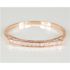 Bangle with metal clip in Rose Gold color Zircon diamond cut D60mm Chic Collection 78451