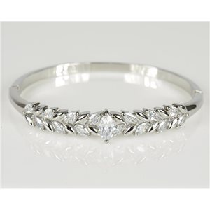 Bangle with metal clip color White Gold Zircon diamond cut D60mm Chic Collection 78455