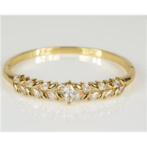 Bracelet Jonc à clip métal couleur Or Jaune Zircon coupe diamant D60mm Collection Chic 78456