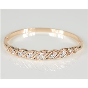 Bracelet Jonc à clip métal couleur Or Rose Zircon coupe diamant D60mm Collection Chic 78460