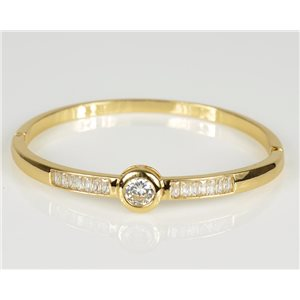 Bracelet Jonc à clip métal couleur Or Jaune Zircon coupe diamant D60mm Collection Chic 78465