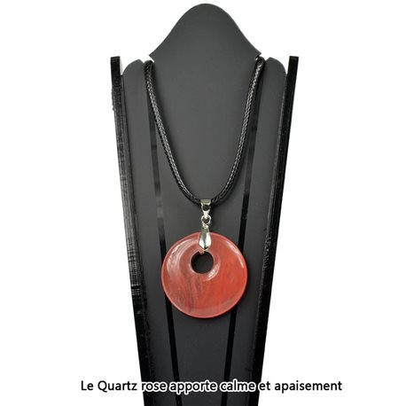 Donuts necklace Pendant 30mm Rose Quartz Stone on waxed cord 78330
