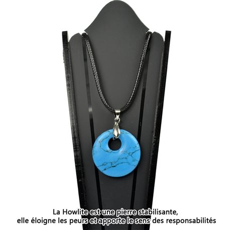 Donuts necklace Pendant 30mm Pierre Howlite Turquoise on waxed cord 78331