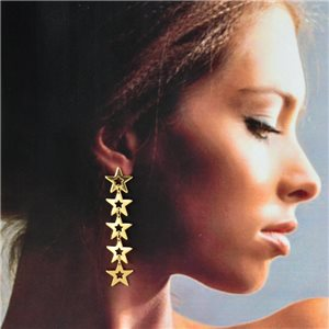 1p Gold Earrings with Hanging studs 7cm MILEVA Fashion Chic Collection 78220