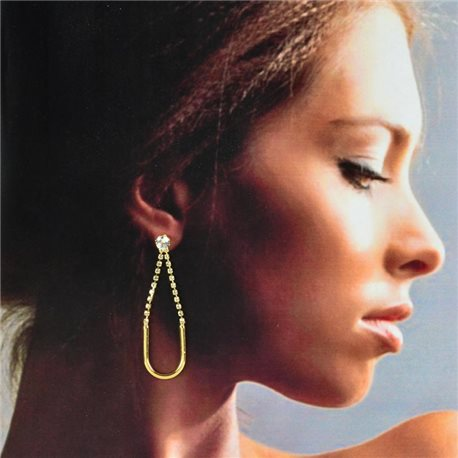 1p Gold Earrings with hanging studs 6cm MILEVA Collection Chic Fashion 78228