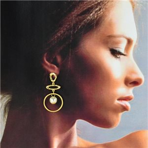 1p Gold Earrings with hanging studs 5cm MILEVA Fashion Chic Collection 78240