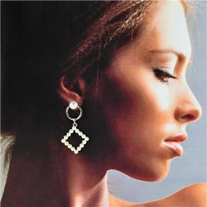 1p Silver Stud Earrings 4cm MILEVA Collection Chic Fashion Collection 78243