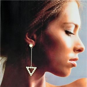 1p Silver Earrings with Drop Studs 7cm MILEVA Collection Chic Fashion 78245